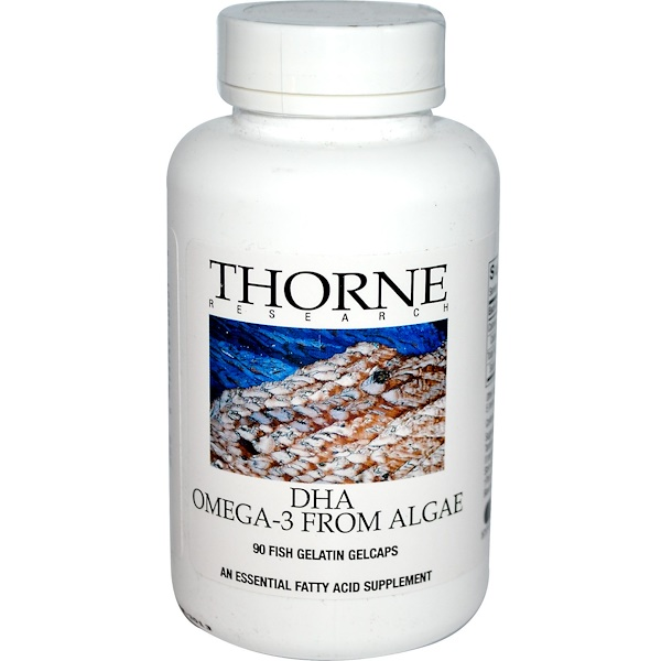 Thorne Research, DHA, Omega-3 from Algae, 90 Fish Gelatin Gelcaps (Discontinued Item)