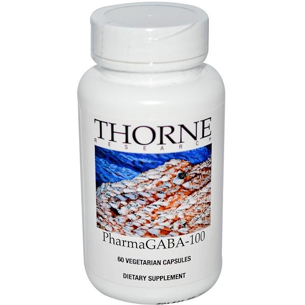 Thorne Research, PharmaGABA-100, 60 Vegetarian Capsules
