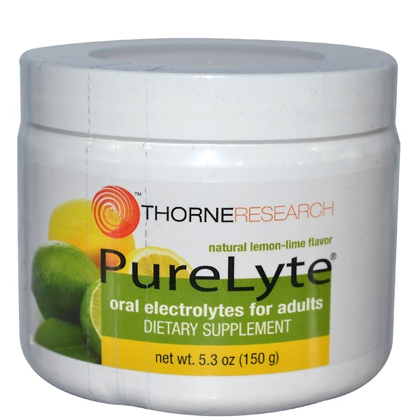 Thorne Research, PureLyte, Oral Electrolytes for Adults, Natural Lemon-Lime Flavor, 5.3 oz (150 g) (Discontinued Item)