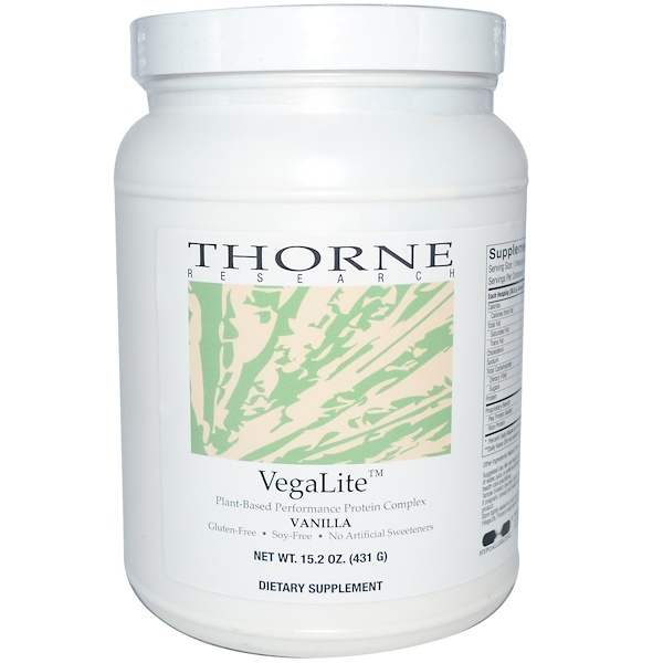 Thorne Research, VegaLite, Plant-Based Performance Protein Complex, Vanilla, 15.2 oz (431 g) (Discontinued Item)