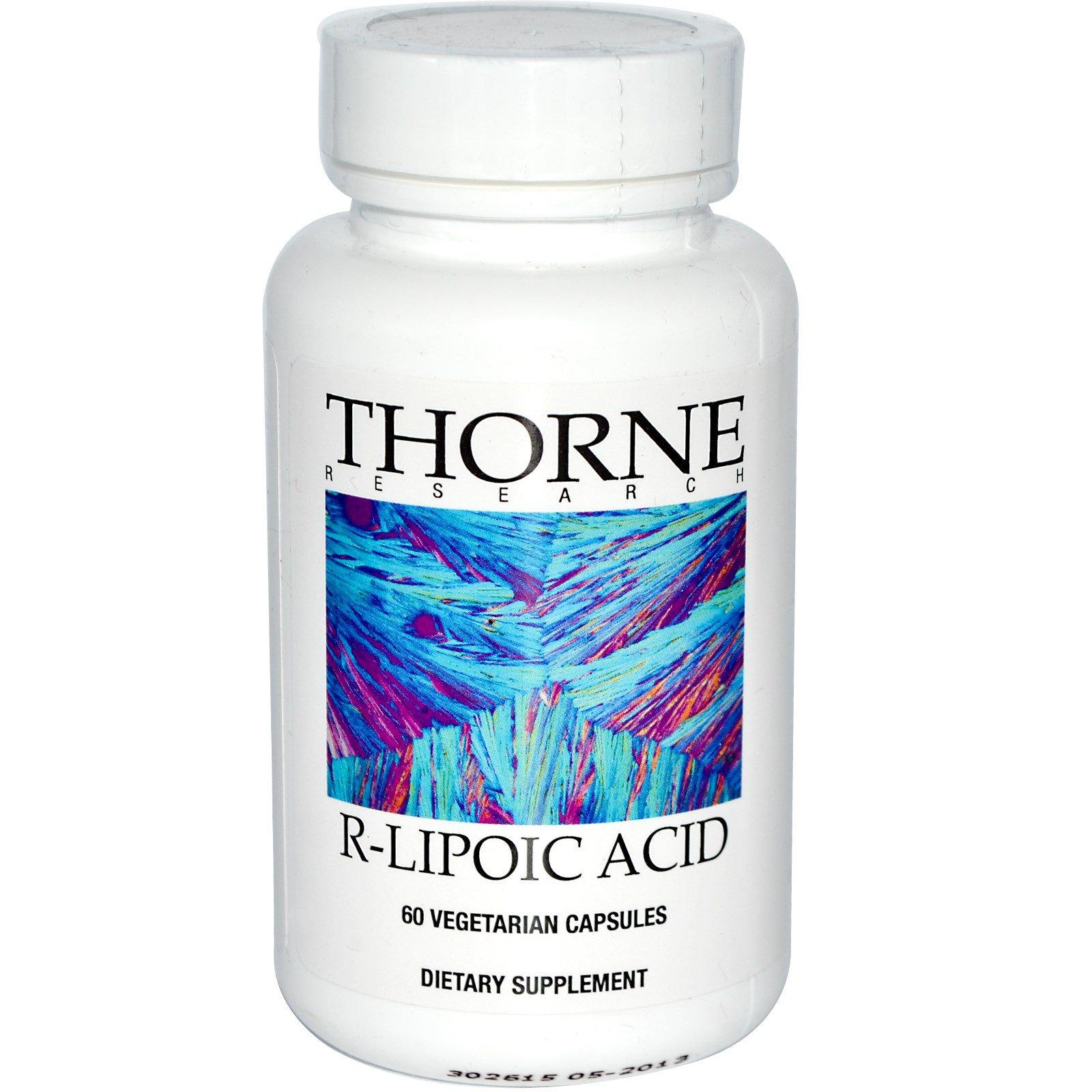 Thorne Research, R-липоевая кислота, 60 вегетарианских капсул