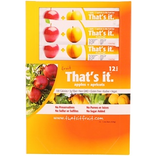That's It, Fruit Bars, Apples + Apricots, 12 Bars, 1.2 oz (420 g) Each