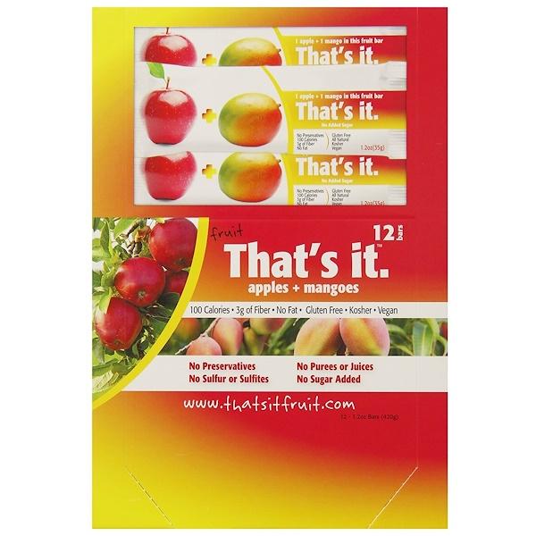 That's It, 水果條,蘋果+芒果,12條,每條1、2盎司(420克)