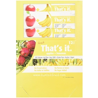 That's It, Fruit Bars, Apples + Bananas, 12 Bars, 1.2 oz (420 g) Each