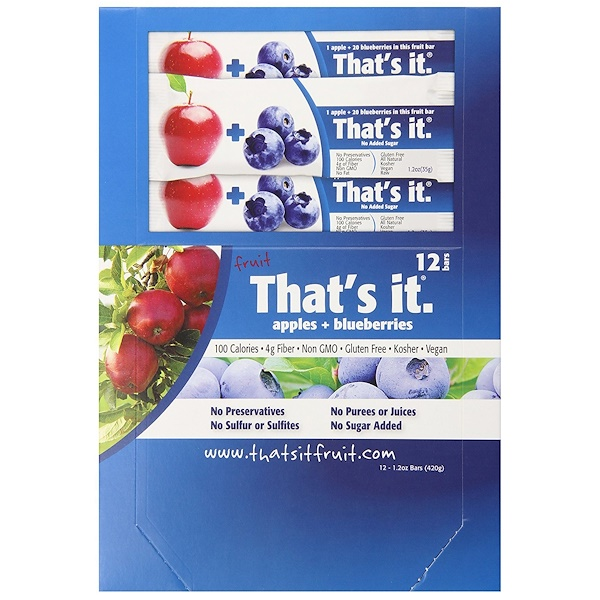 That's It, Fruit Bars, Apples + Blueberries, 12 Bars, 1.2 oz (420 g) Each