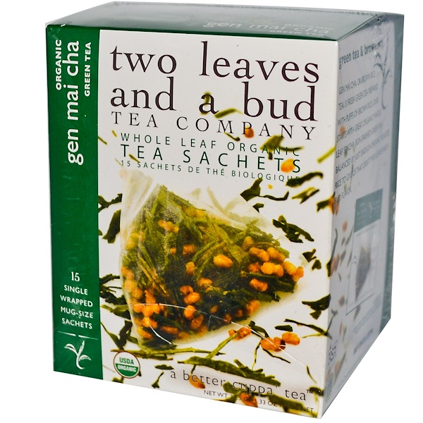 Two Leaves and a Bud, Organic Gen Mai Cha Green Tea, 15 Sachets, 1.33 oz (37.5 g) (Discontinued Item)