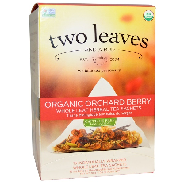 Two Leaves and a Bud, Organic Orchard Berry, Whole Leaf Herbal Tea Sachets, Caffeine Free, 15 Sachets, 1.06 oz (30 g) (Discontinued Item)