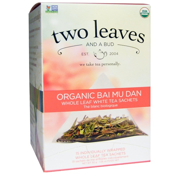 Two Leaves and a Bud, Organic Bai Mu Dan, Whole Leaf White Tea, 15 Sachets, 1.06 oz (30 g) (Discontinued Item)
