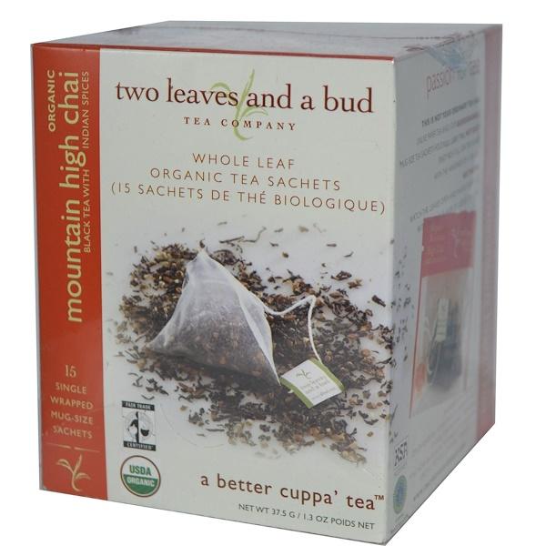 Two Leaves and a Bud, Органические Mountain High Chai, 15 пакетиков 1.3 унции (37.5 г) (Discontinued Item)