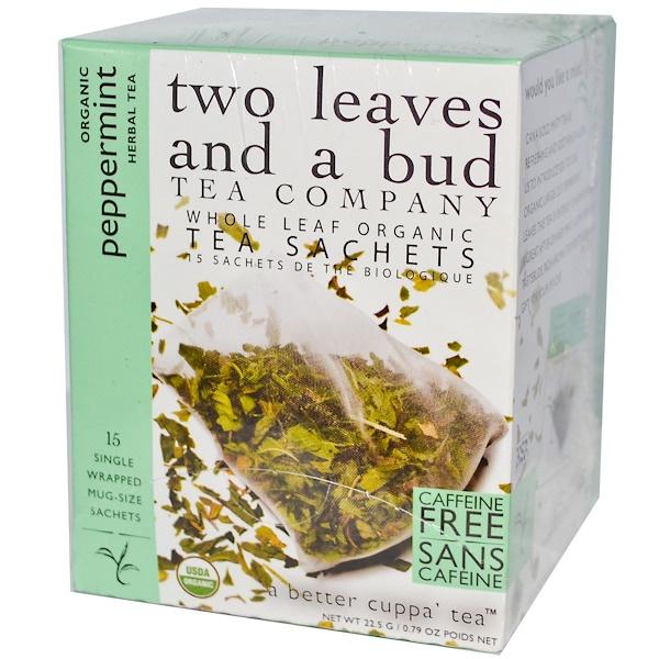Two Leaves and a Bud, Органический мятный травяной чай, без кофеина, 15 пакетиков, 0,79 унции (22,5 г) (Discontinued Item)