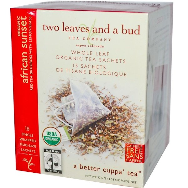 Two Leaves and a Bud, Organic African Sunset, Red Tea (Rooibos) with Lemongrass, 15 Sachets, 1.33 oz (37.5 g) (Discontinued Item)