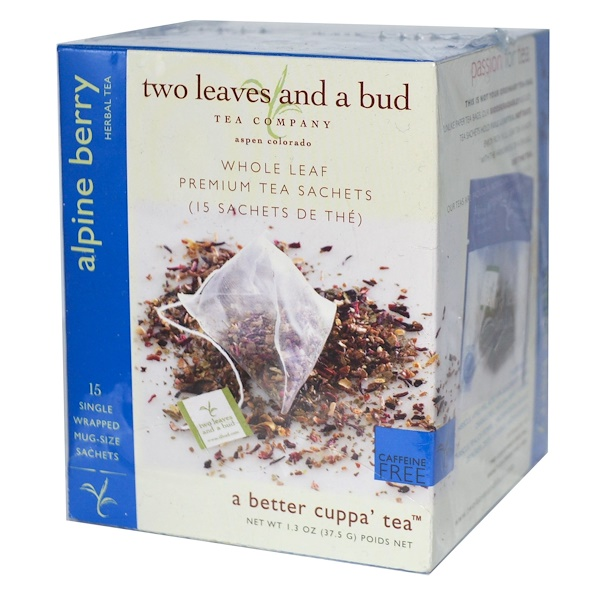 Two Leaves and a Bud, Herbal Tea, Alpine Berry, Caffeine Free, 15 Sachets, 1.3 oz (37.5 g) (Discontinued Item)