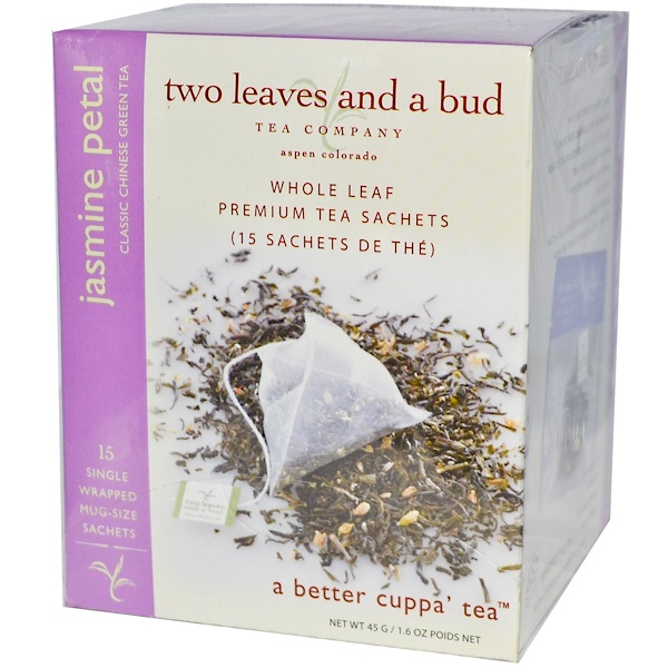 Two Leaves and a Bud, Jasmine Petal, Classic Chinese Green Tea, 15 Sachets, 1、3 oz (45 g)