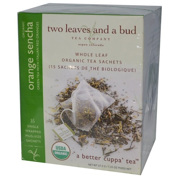 Two Leaves and a Bud, Organic Orange Sencha, Green Tea, 15 Sachets, 1.33 oz (37.5 g) (Discontinued Item)