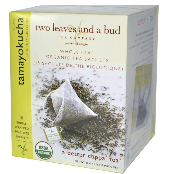 Two Leaves and a Bud, Organic Tamayokucha, Extremely Green Tea, 15 Sachets, 1.06 oz (30 g) (Discontinued Item)