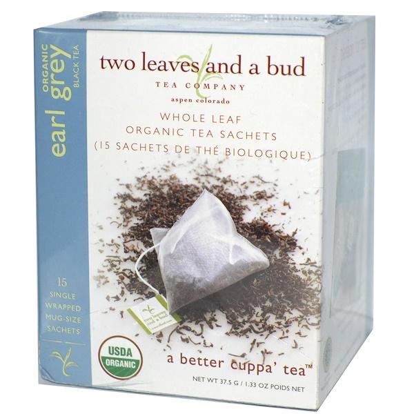 Two Leaves and a Bud, Органический Эрл Грей Черный чай, 15 пакетиков 1.33 унции (37.5 г) (Discontinued Item)