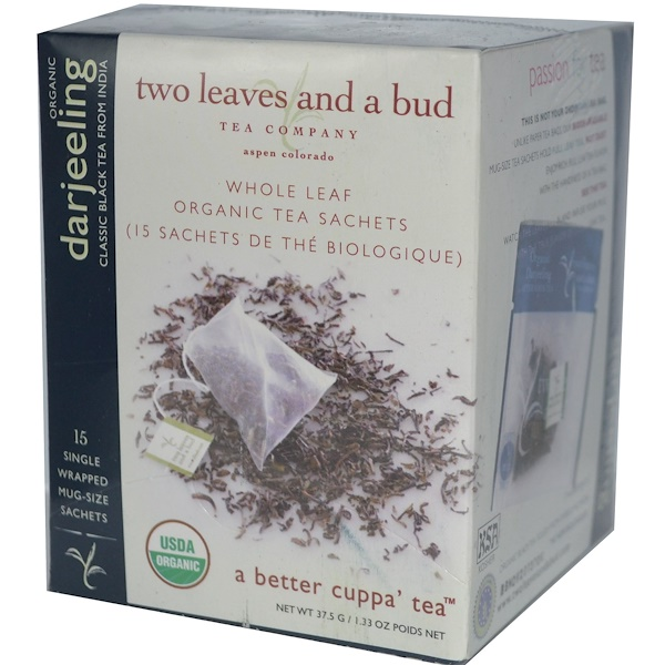 Two Leaves and a Bud, Organic Darjeeling, Classic Black Tea From India, 15 Sachets, 1.33 oz (37.5 g) (Discontinued Item)