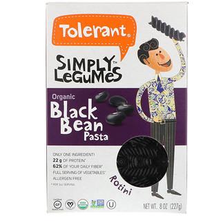 Tolerant, Simply Legumes, Organic Black Bean Pasta, Rotini, 8 oz (227 g)