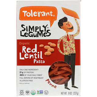 Tolerant, Organic Red Lentil Pasta, Penne, 8 oz (227 g)