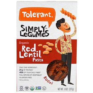 Tolerant, Simply Legumes, Bio-Rote-Linsen-Pasta, Rotini, 227 g