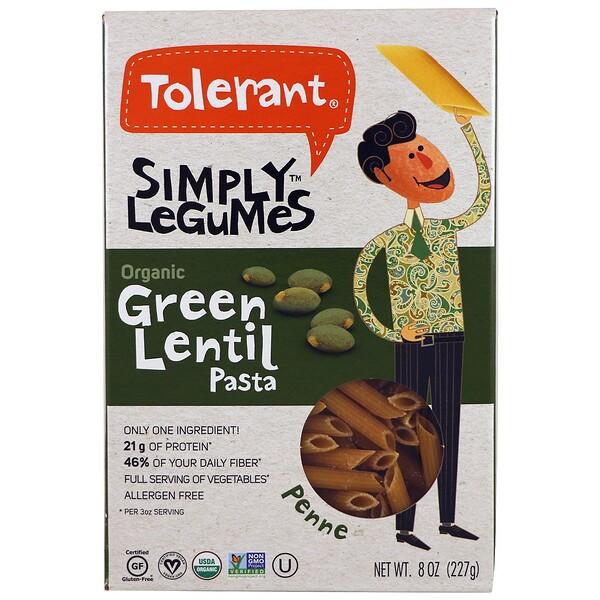 Tolerant, Organic, Green Lentil Pasta, Penne, 8 oz (227 g)