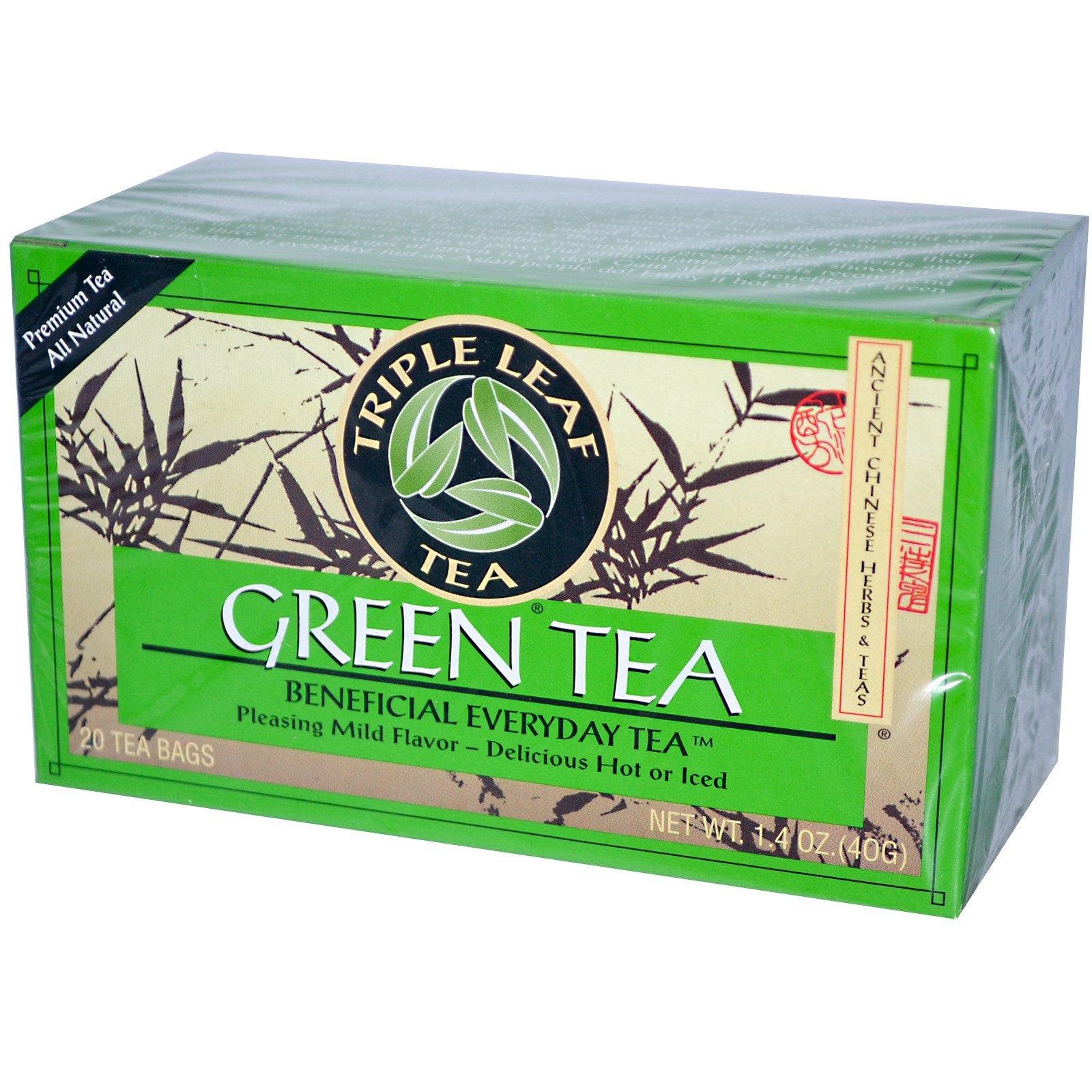 Triple Leaf Tea, Зеленый чай, 20 пакетиков, 40 г