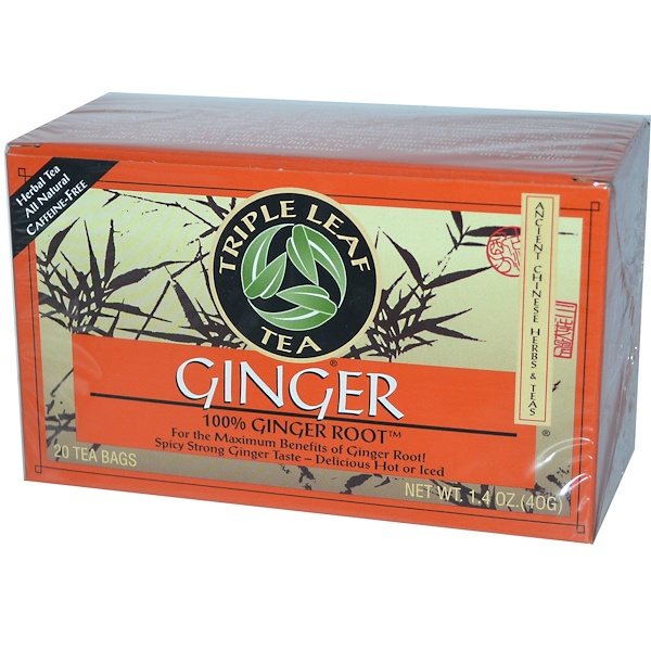 Triple Leaf Tea, Ginger, Caffeine Free, 20 Tea Bags, 1.4 oz (40 g)