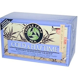 Triple Leaf Tea, Cold & Flu Time, 20 Tea Bags, 1.4 oz (40 g)