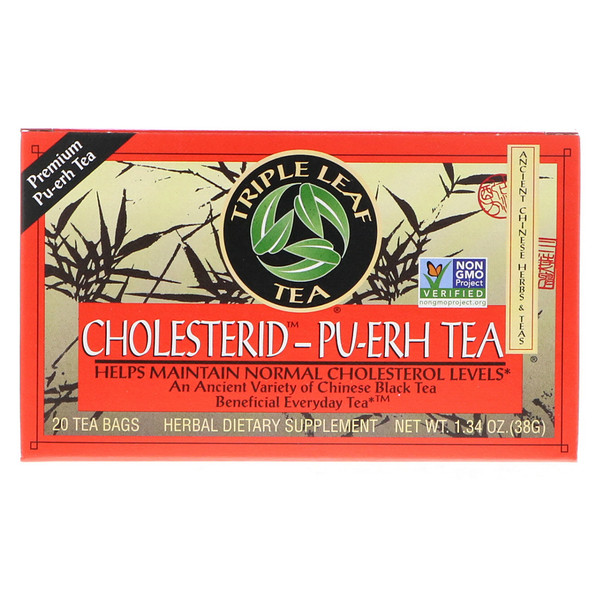 Triple Leaf Tea, Cholesterid-Pu-erh, Chinese Black Tea, 20 Tea Bags, 1.34 oz (38 g)