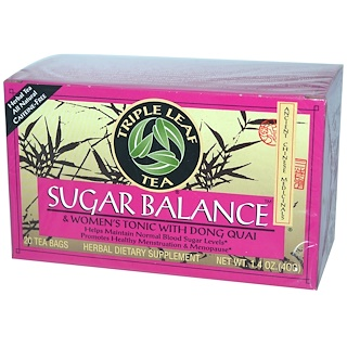 Triple Leaf Tea, Sugar Balance, Caffeine-Free, 20 Tea Bags, 1.4 oz (40 g)