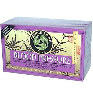 Triple Leaf Tea, Blood Pressure, Caffeine-Free, 20 Tea Bags, 1.4 oz (40 g)