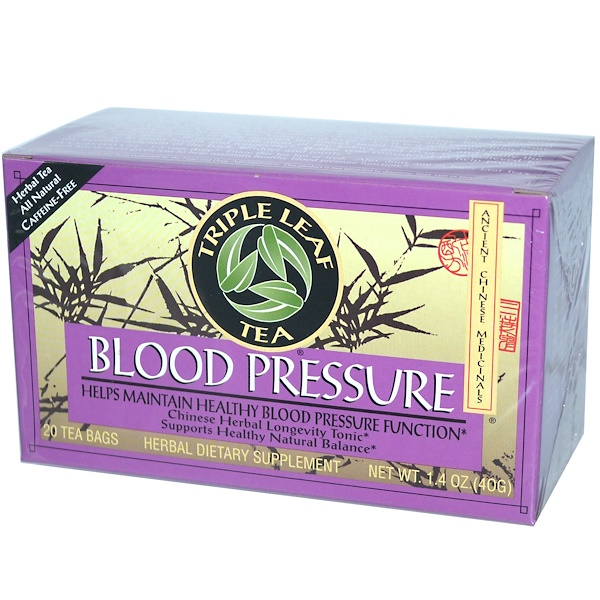 Triple Leaf Tea, Blood Pressure, Caffeine-Free, 20 Tea Bags, 1.4 oz (40 g)