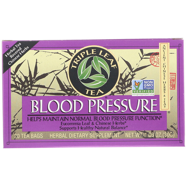 Triple Leaf Tea, Blood Pressure, 20 Tea Bags, 1.06 oz (30 g)