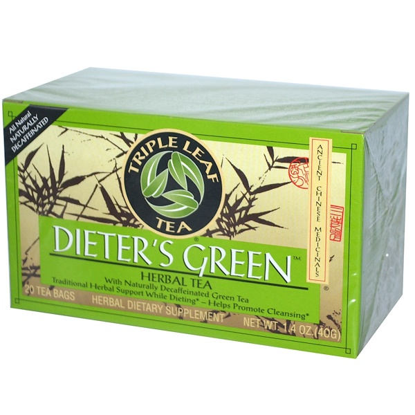 Triple Leaf Tea, Dieter's Green, Herbal Tea, Decaf, 20 Tea Bags, 1.4 oz (40 g) (Discontinued Item)