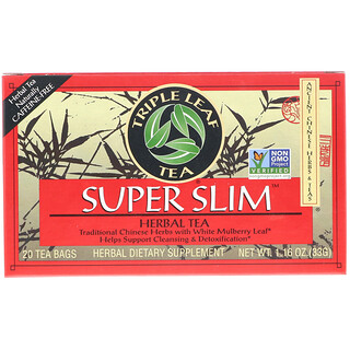 Triple Leaf Tea, Super Slim Herbal Tea, Caffeine-Free, 20 Tea Bags, 1.6 oz (33 g)
