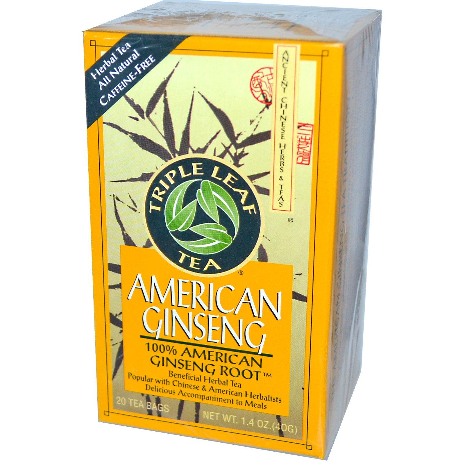Triple Leaf Tea, Американский женьшень, без кофеина, 20 пакетиков, 1,4 унции (40 г)