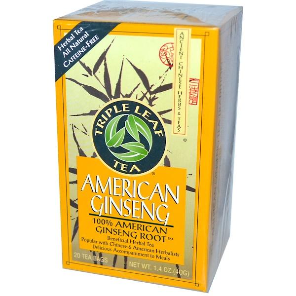Triple Leaf Tea, American Ginseng, Caffeine-Free, 20 Tea Bags, 1.4 oz (40 g) (Discontinued Item)