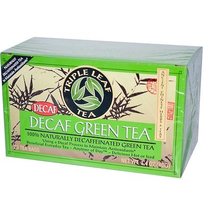 Triple Leaf Tea 不含咖啡因的綠茶,20個茶包,1.4盎司(40克)