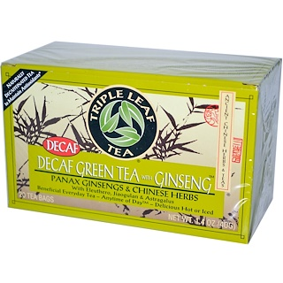 Triple Leaf Tea, Decaf Green Tea with Ginseng, 20 Tea Bags 1.4 oz (40 g) Each
