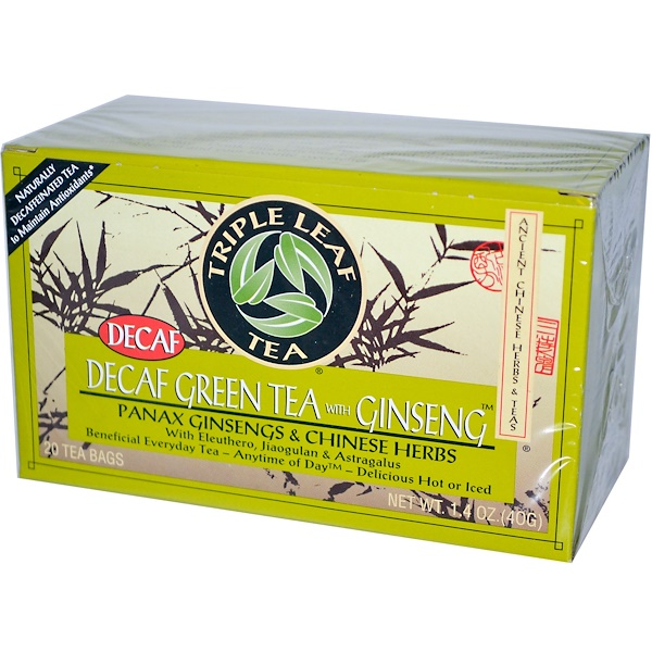 Triple Leaf Tea, Decaf Green Tea with Ginseng, 20 Tea Bags 1.4 oz (40 g) Each (Discontinued Item)