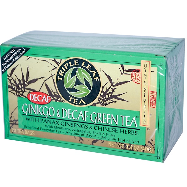 Triple Leaf Tea, Ginkgo & Decaf Green Tea, 20 Tea Bags, 1.4 oz (40 g) (Discontinued Item)