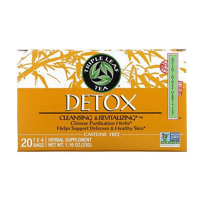 Купить Triple Leaf Tea Detox, без кофеина, 20чайных пакетиков, 33г (1, 16унции)