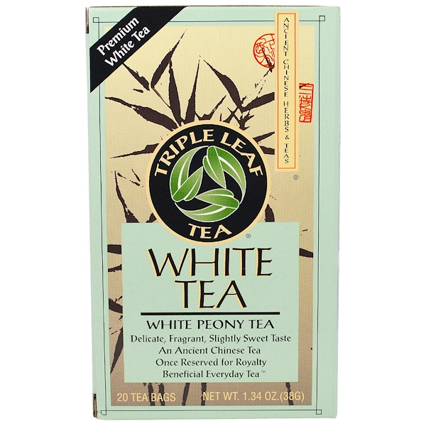Triple Leaf Tea, White Peony Tea, 20 Tea Bags, 1.34 oz (38 g) (Discontinued Item)