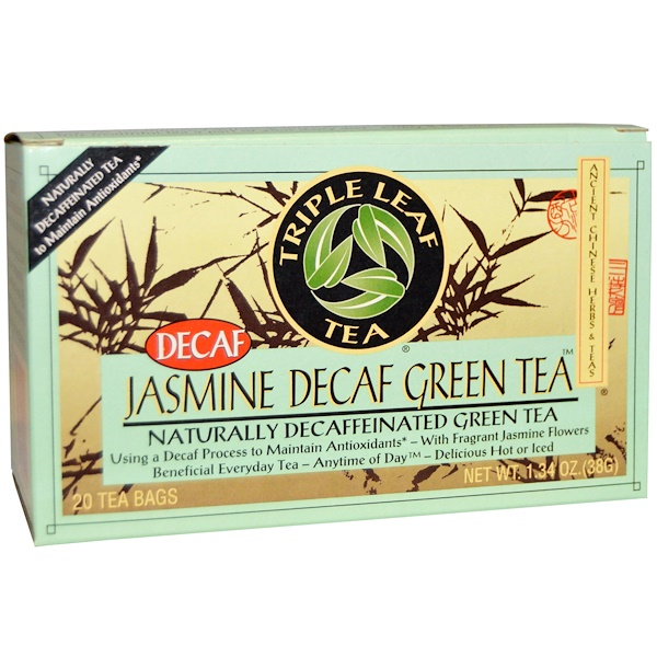Triple Leaf Tea, Jasmine Decaf Green Tea, 20 Tea Bags, 1.34 oz (28 g) (Discontinued Item)