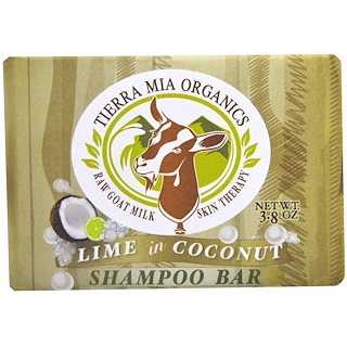 Tierra Mia Organics, Raw Goat Milk Skin Therapy, Shampoo Bar, Lime in Coconut, 3.8 oz