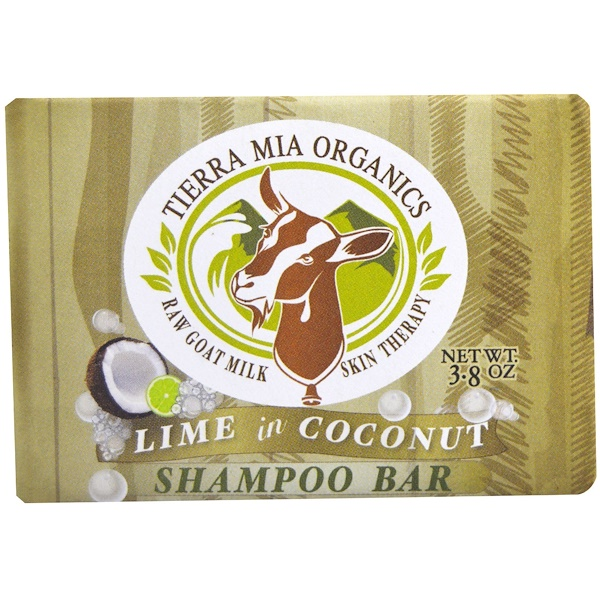 Tierra Mia Organics, 로 고트밀크 스킨 테라피, 샴푸바, 라임 인 코코넛, 3.8 oz (Discontinued Item)