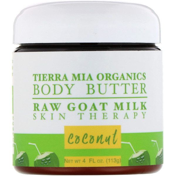 Tierra Mia Organics, Body Butter, Raw Goat Milk Skin Therapy, Coconut, 4 fl oz (113 g) (Discontinued Item)