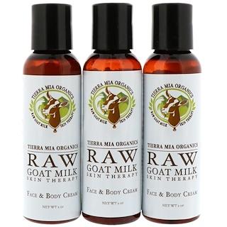 Tierra Mia Organics, Raw Goat Milk Skin Therapy, Face & Body Cream, Lavender + Vanilla + Coconut, 3 Bottles, 2oz (56 g) each