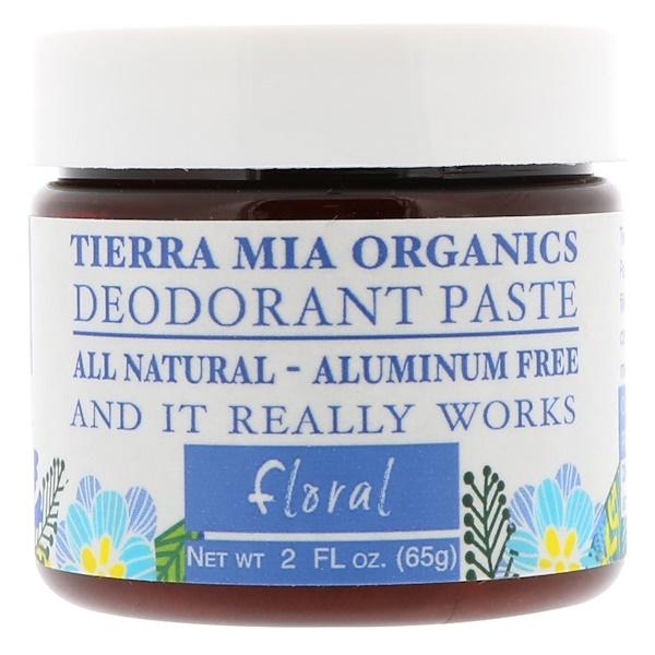 Tierra Mia Organics, 除臭膏,花香,2液量盎司(65克)