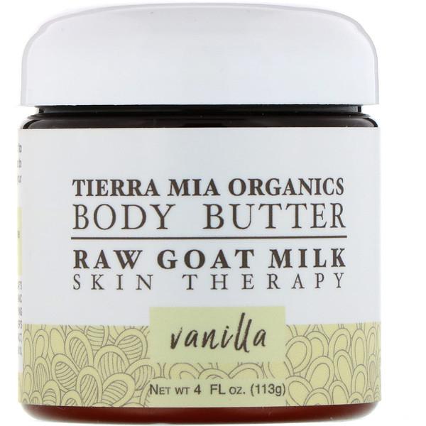 Tierra Mia Organics, Manteca corporal, leche de cabra sin procesar, terapia para la piel, vainilla, 4ozlíq. (113 g)